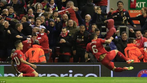 Lovren's winner against Dortmund sparked pandemonium (photo: AP)