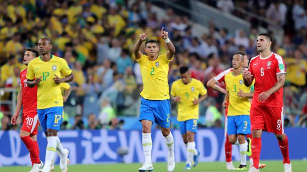 Thiago Silva celebrates his goal against Serbia | Source: Getty Images via FIFA.com