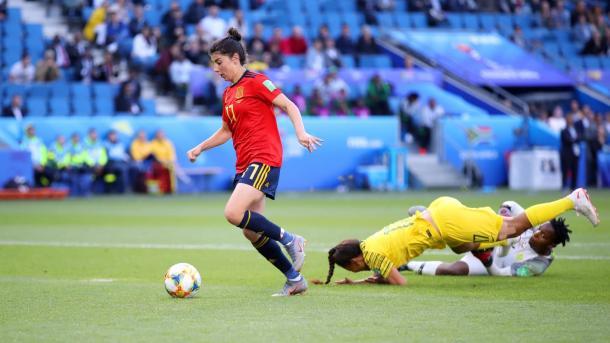 Lucía García anota el tercer gol ante Sudáfrica / Foto: FIFA