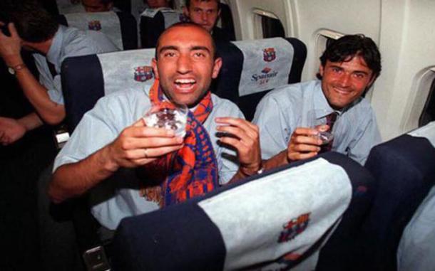 Abelardo y Luis Enrique con el Barça   Foto: Sport