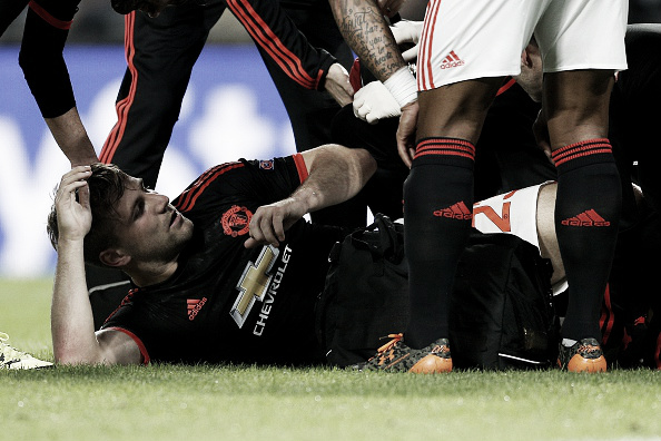 Shaw suffered a horror injury against PSV last September | Photo: Getty Images Sport/ VI Images