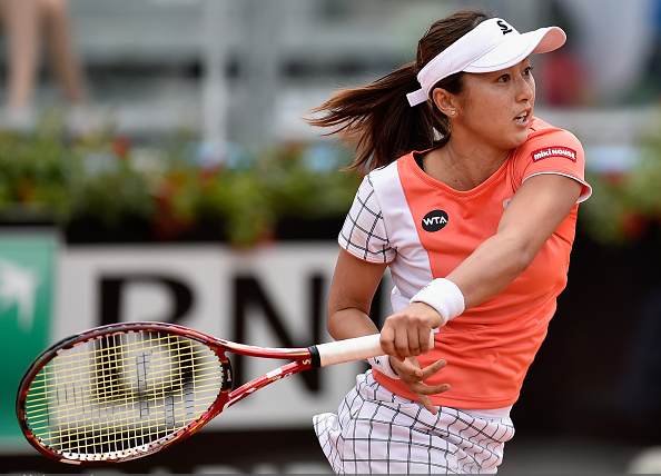 Misaki Doi hitting her forehand l Dennis Grombkowski Photo: Getty Images