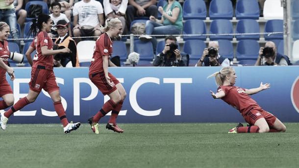 Hegerberg celebrates breaking the deadlock. (Photo: UEFA)