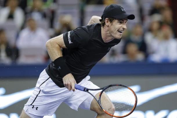 Murray chases down a drop shot (Photo by Lintao Zhang/Getty Images)