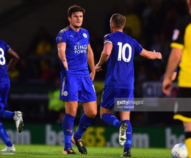 Harry Maguire celebrates his goal for Leicester | Photo: Getty/ Tony Marshall
