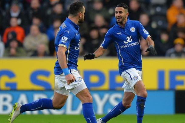 Riyad Mahrez celebrates his winning goal in the last league game between the two at the KCOM Stadium | Photo: Getty