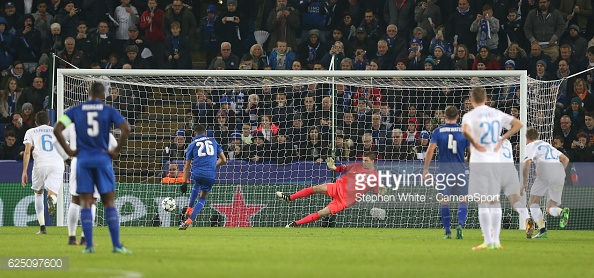 Mahrez opens the scoring for Leicester in midweek | Photo: Stephen White/Camera Sport