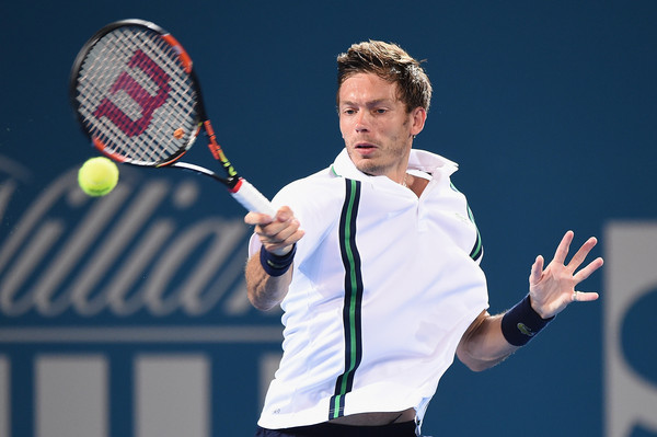 Nicoal Mahut in action at this year's Brisbane Open.  He is playing in his 44th main draw at the grand slams.  (Matt Roberts/Getty Images AsiaPac)