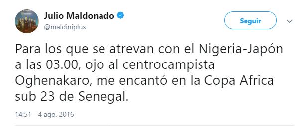 Tweet de Julio Maldonado sobre Etebo | Foto: Twitter