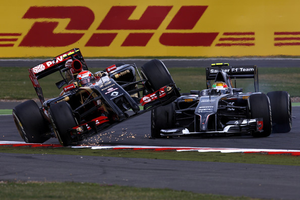 Incidente entre Pastor Maldonado y Esteban Gutiérrez en el GP de Gran Bretaña de 2014 | Imagen: Getty Images