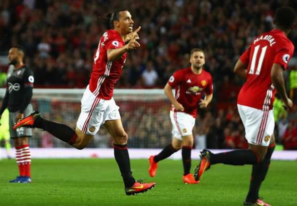 Ibrahimovic celebrates his opener against Southampton | Photo: Getty
