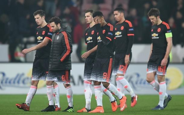 United players looking dejected after the Midtjylland defeat in the Europa League