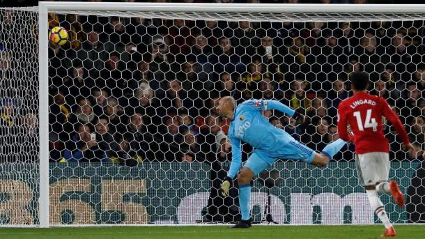 Momento de uno de los goles del Manchester United ante el Watford | Fotografía: Premier League