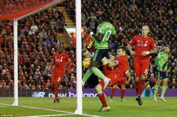 CON: Mane's scrambled equaliser at Anfield last season was his last league goal for 18 games (photo; Reuters)