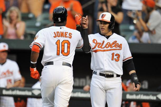 Andrew Jones #10 and Manny Machado #13 of the Baltimore Orioles |Joy R. Absalon-USA TODAY Sports|