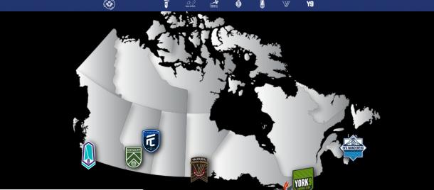 Mapa de equipos CPL. Fuente: Canadian Premier League