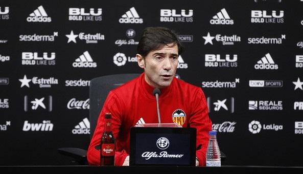 Marcelino en la rueda de prensa. / Foto: Valencia CF
