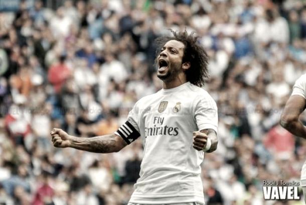 Marcelo celebra un gol con el Real Madrid la temporada pasada I Foto: Rodri Torrellas (VAVEL)