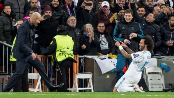 Gol ante el PSG en Champions. Fuente:EFE