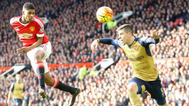 Marcus Rashford scoring his second of two goals against Arsenal | Photo: Getty Images