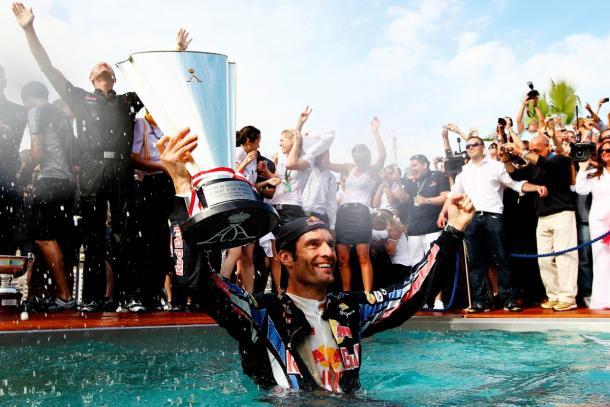 Mark Webber celebra su triunfo en el GPd de Mónaco de 2010 | Fuente: Red Bull Racing