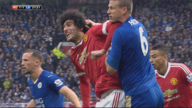 Marouane Fellaini and Robert Huth were both banned by the FA for three matches for these actions. | Source: SkySports