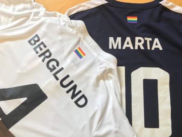 Time de Marta, o Rosengård, da Suécia, tem aval da Uefa para colocar símbolo LGBT (Foto: Divulgação/Rosengård)