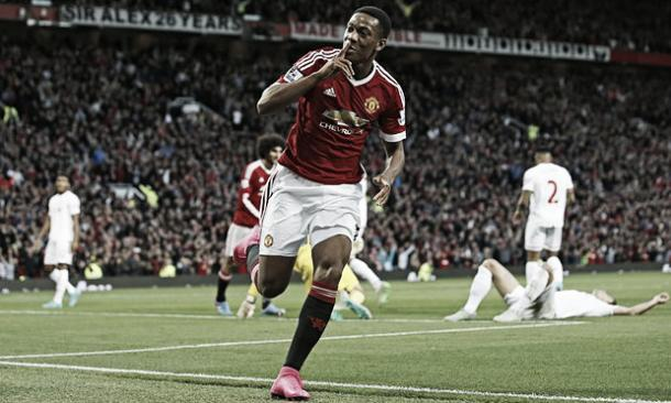 Anthony Martial scored on his debut against Liverpool | Photo: Carl Recine/ Reuters