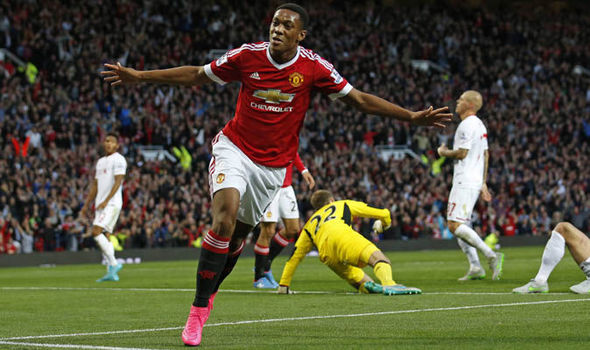 Martial celebrates his debut goal against Liverpool | Photo: Getty