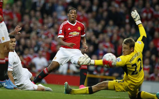 Martial burst onto the scene at United with a goal against Liverpool on his debut |