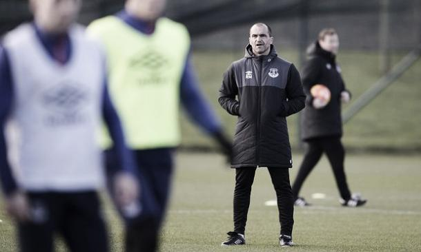 Roberto Martinez watches on during a training session. | Photo: Liverpool Echo