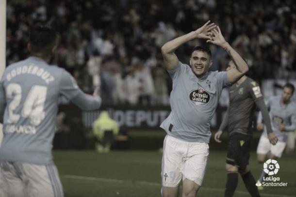 Maxi Gómez celebrando su gol | Fuente: LaLiga
