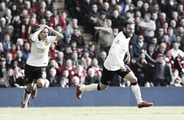 Juan Mata celebrates scoring his second goal at Anfield last season | Photo: Reuters