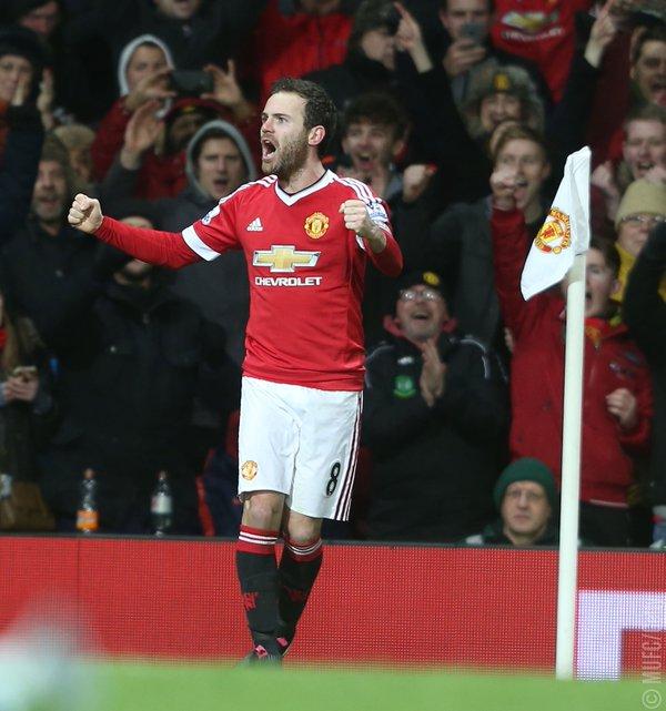Juan Mata celebrating his goal against Watford | Source Manchester United