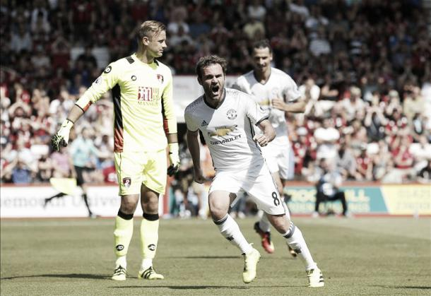Mata celebrates scoring United's opener | Photo via Getty Images]