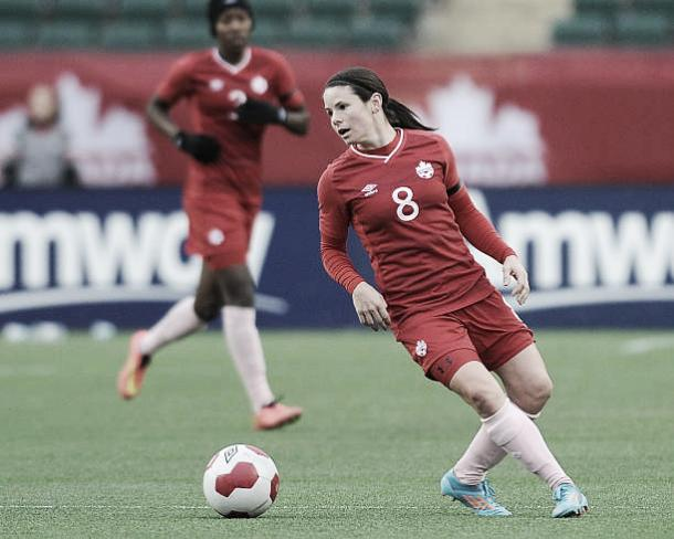 Diana Matheson with the Canadian women's national team | Photo: Derek Leung, Getty Images