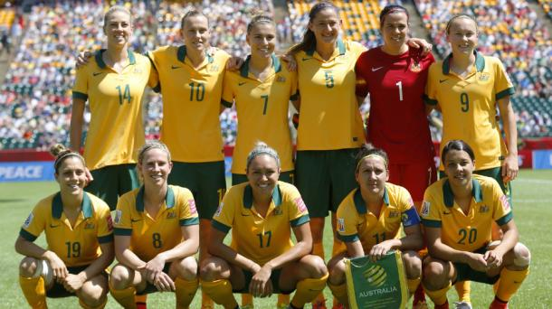 The Matilda's during their World Cup run in 2015, who could be playing the 2023 tournament at home. l Source:Australis Footbal