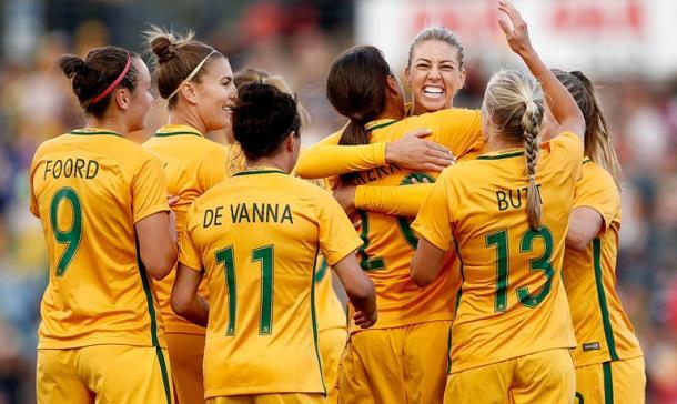 the Matildas celerbrate a goal//Source:nibstadium.com
