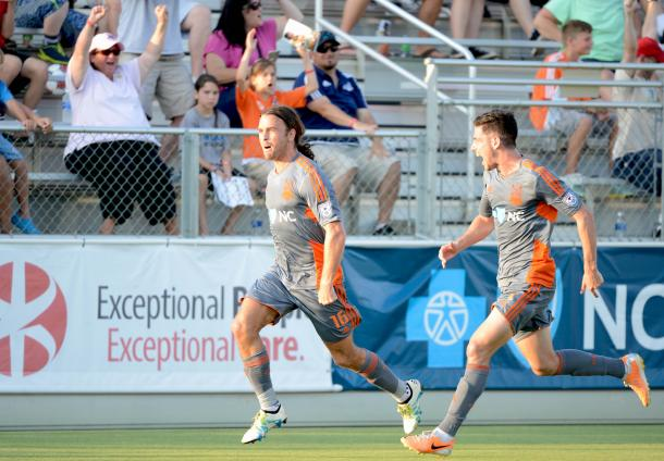 Above: Matt Fondy celebrating his goal in the Carolina RailHawks' 4-1 win over the Tampa Bay Rowdies | Photo: carolinarailhawks.com