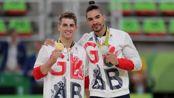 Max Whitlock edged Louis Smith into second place as both won medals in the men's pommel horse. | Photo: Getty Images