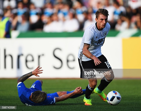 Maximilian Philipp is challenged by Stanislav Lobotka of Slovakia during a friendly match last month. | Photo: Stuart Franklin/Bongarts/Getty Images