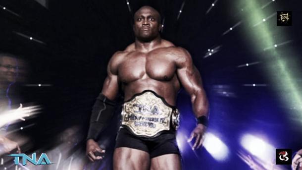 Lashley walked away the new TNA Champion. Photo- Youtube