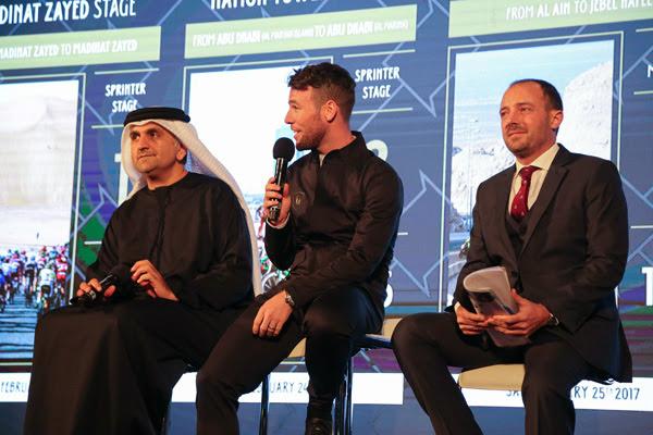 Mark Cavendish oggi, durante la presentazione della corsa. Fonte. Abu Dhabi Tour