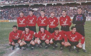 Once del Mérida en un partido de Primera en la 94/95