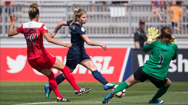 Courage midfielder McCall Zerboni scores the only goal in the 1-0 opening match of the 2017 NWSL season against the Washington Spirit.   Photo: @NWSL