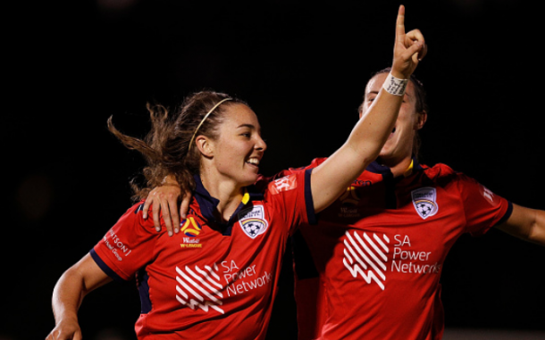 Adelaide's Jenna McCormick celebrates after scoring the go-ahead goal in their 2-1 victory over the Melbourne Victory. | Photo: Daniel Pockett - Getty Images