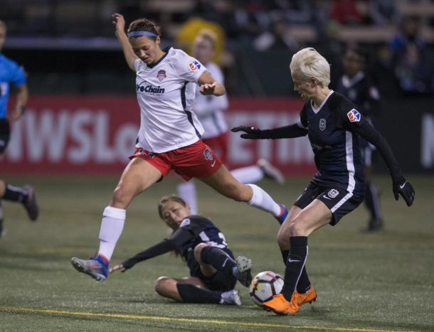 Megan Rapinoe in the first match of 2018 for Seattle l source: Reignfc.com
