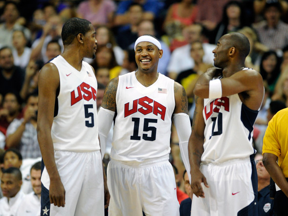 Kevin Durant, Carmelo Anthony, and Kobe Bryant in-game against Dominican Republic/ Getty Images-David Becker