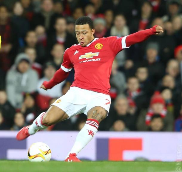 Memphis in action against FC Midtjylland in the Europa League. Credit: MUFC/Getty