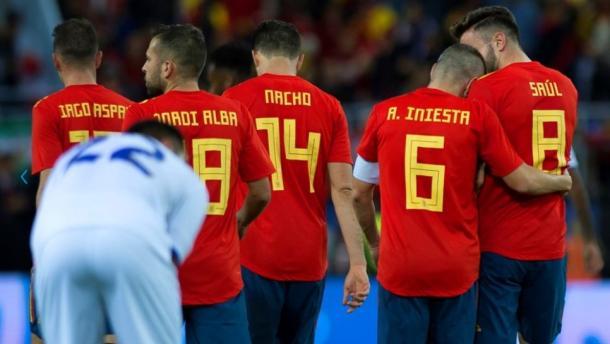 Los futbolistas de la selección española en el partido contra Costa Rica I Foto: FIFA